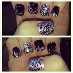 Glitter and black nails