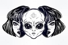 Portriat of the extraordinary alien from outer space face in disguise as a human girl. UFO sci-fi, tattoo art. Isolated vector ill