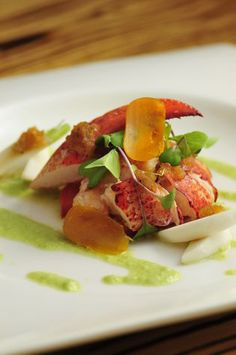 Maine Lobster Salad with Matsuhisa Dressing, Red Cluster Tomatoes, Jalapeno Dressing, Micro Japanese Turnips, Sliced and Cured Karasumi