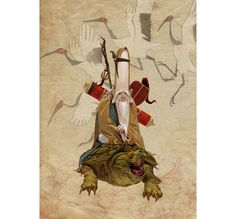 FUKUROKUJU The god of wisdom, Fukurokuju is a long-lived natural leader of men. He counts as a Daimyo, and as such cannot be taken hostage or persuaded to betray his Clan. Art by Adrian Smith.