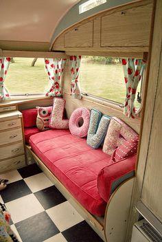 Sweet caravan interior. Inspiration for my imaginary camper van!