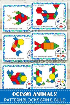 Create beautiful 2D pictures of ocean animals with these pattern block spin and build mats. It is a fun way of learning geometric shapes and an engaging math activity for kids.  #preschool #kindergarten #math #shapes