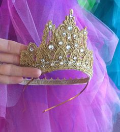 Items similar to Handmade Princess Aurora Tiara with Swarovski Crystals on Etsy Lace Hair, Hair Bows, Princess Hat, Crown Template, Unicorn Birthday Parties, Birthday Crowns, Lace Crowns, Diy Crown, Girl Baby Shower Decorations