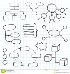 Hand Draw Doodle Sketch Mind Map Blank Flow Chart Stock Photo ...