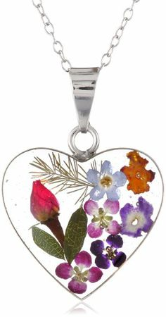 """Amazon.com: Sterling Silver Pressed Flower Heart Pendant Necklace, 16"""": Jewelry"""