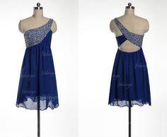 royal blue prom dress short prom dress chiffon prom by fitdesign, $109.00