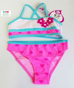 nuovo bikini costume da bagno bimba fantasia cuori e pois a fascia tg 7
