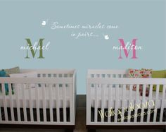 Twin wall decal  Twins decal  Twin nursery by WallapaloozaDecals