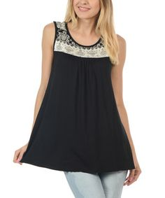 Magic Fit Black & White Embroidery Scoop Neck Tank by Magic Fit #zulily #zulilyfinds