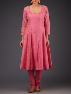 Buy Chanderi Tissue Pink Round Neck Kali Kurta with Embroidery On & Sleeves Golden Apparel Tunics Kurtas Modern Princess Festive Women's in Classic Silhouettes Online at Jaypore.com