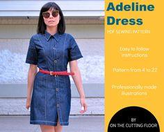 Il sagit dune robe belle chemise avec 4 variantes belles et modernes. La robe est un excellent aliment de base pour la saison printemps-été et vous pouvez créer des fabuleux court et manches 3/4 chemise options trop !  Les caractéristiques du modèle :  Une robe ajustée et les options de la chemise avec un collier unique et empiècement dos.   COUTURE niveau : intermédiaire  TAILLES : du 4 au 22  EXIGENCE de tissu : tissu tissé de 2 1/4 à 3 3/4 verges de poids moyen.  TISSUS RECOMMANDÉS…