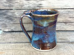 Beer Stein Blue Handmade Ceramic Ready to Ship by WorksofHope