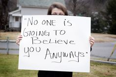 TRIGGER WARNING. Project unbreakable: Helps heal those who were sexually abused by asking them to write a quote from their attacker on a poster and photograph themselves holding it. Rape survivor and advocate for victims of sexual abuse, Yvonne Moss, describes the project as a way for victims to take the power back of the words that were once used against them. #Feminism