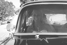 Shelley and Nathan ~ Happy Bride and a Vintage Car. Central Coast Summer Beach Wedding at Budgewoi Beach and Norah Head Lighthouse | Sydney Wedding Photographer dylanmartinphotography.com