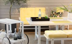 From our store south of #Stockholm. Fri Form #outdoor #furniture #white #yellow #table #chair #design #armchair