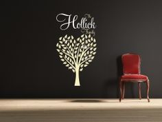 Family tree in the shape of a heart, with the Family name, and those of the family members through the tree.   All our wall stickers/decals are available in a great range of sizes and colours - and can be personalised to be truly custom.