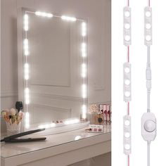 Diy Makeup Mirror, Diy Vanity Mirror With Lights, Makeup Vanity Lighting, Vanity Lamp, Led Vanity Lights, Make Up Mirror, Lights Around Mirror, Make Up Lighting Mirror, Lighted Makeup Mirror