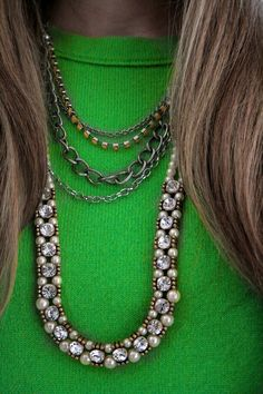 bright neon green with pearls and rhinestones (and a D.I.Y. necklace!)