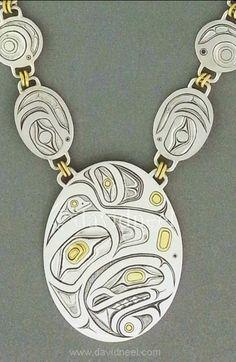 Eagle, Orca & Frog Pendant by David Neel, Kwakiutl. Silver & 24K Gold #haida