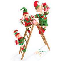 "Elves Climbing Ladder Decorations | Amazon.com - Tall 36"" Christmas Elf Elve Trio On Ladder Adorable ..."