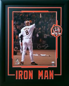 Cal Ripken Jr. Baltimore Orioles. Autographed 16x20 photo of his farewell wave at his last game.