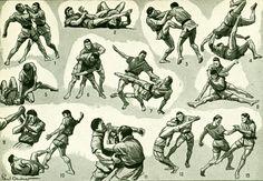 1948 Jiu-jitsu judo sport vintage, art martiaux, planche illustrée ancienne originale Larousse  scrapbooking de la boutique sofrenchvintage sur Etsy