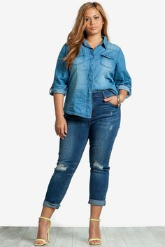 A'GACI Plus+ Online Exclusive Search and destroy the competition! A pair of so-essential skinny jeans with destroyed trim throughout and ripped knees. Sandblasted and whiskering accents. Cuffed leg openings. Medium wash body. Five pocket styling. Button and zipper front closure. $38.50
