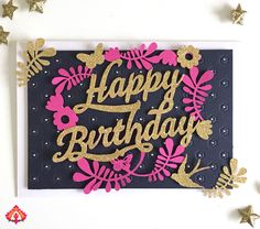 Happy Birthday Cards, birthdays, papercraft, anniversary, hot pink , blue, gold glitter, handcrafted cards