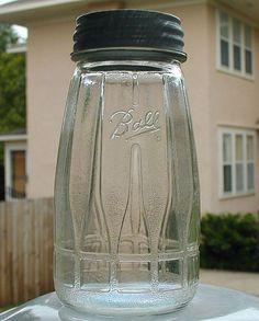 Ball A 13 Art Deco Canning jar Antique Bottles, Vintage Bottles, Bottles And Jars, Antique Glass, Glass Bottles, Perfume Bottles, Ball Canning Jars, Ball Mason Jars, Vintage Kitchenware