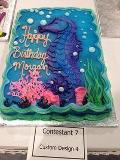 Under the Sea, little mermaid, seahorse Fondant Cake, birthday, wedding, party.