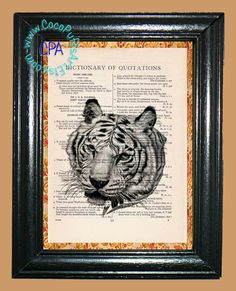 Portrait of a White Tiger Art - - Vintage Dictionary Book Page Art-Upcycled Page Art,Wall Art,Collage Art, Tiger Print by CocoPuffsArt on Etsy