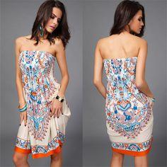 2016 Bohemian European Style Women Dress Sexy Elegant Clothes Vintage Ropa Mujer Print Beach Summer Dress Vestidos De Festa