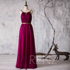 2015 Long Bridesmaid dress, Red Wine Wedding dress, Chiffon Formal dress, Backless Maxi dress, Gold Belt Prom dress floor length (F066E)