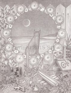 """ Sound of the Waves "" #cat #surf #beach #surreal #pencildrawing"