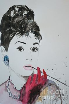 Audrey Hepburn- Watercolor Painting by Ismeta Gruenwald