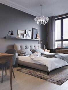 Картинки по запросу кровать с мягким изголовьем серым купить