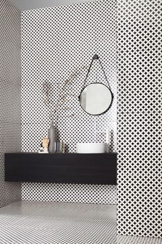 Tagina Ceramiche d'arte at Cersaie 2014 with Deco D'Antan - black and white bathroom / salle de bains - noir et blanc Diy Bathroom Remodel, Bathroom Interior, Modern Bathroom, Small Bathroom, Vanity Bathroom, Budget Bathroom, Bathroom Ideas, Basement Bathroom, Bathroom Black