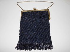 Antique Art Deco Czech Multicolor Iridescent Metallic Blues Glass Seed Bead Evening Flapper Purse with Fringe and Floral Engraved Goldtone Frame