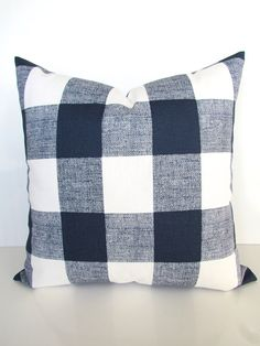 GET A WHOLE NEW LOOK JUST BY USING PILLOW COVERS! THE PILLOW COVERS CAN GO OVER A PILLOW INSERT OR YOUR EXISTING PILLOWS!  Add a FRESH NEW DESIGNER LOOK to any room with this pillow cover made for any size of pillow. It features a gorgeous New Buffalo Plaid pattern in Navy Blue on a white background. It is made up of 100% decorator weight cotton fabric.  * * * THIS LISTING IS FOR ONE PILLOW COVER. * * * The pillow insert is NOT included and can be purchased at Joann Fabrics.  * The Printed…