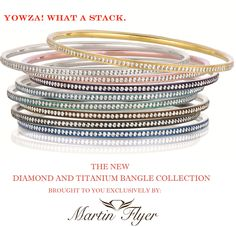 Hotness embodied in a bangle!  The Titanium and Diamond bangles from Martin Flyer are sure to draw some attention.