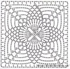 Crochet motifs chart Circular center 4 points ends as a square Crochet Motif Patterns, Crochet Blocks, Crochet Diagram, Crochet Chart, Crochet Squares, Crochet Granny, Crochet Stitches, Knit Crochet, Granny Squares