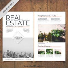 panfleto imobiliário com fotos Vetor grátis