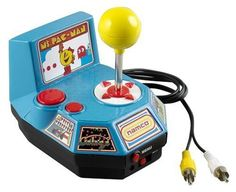 Jakks Ms. Pac-Man TV Game by Jakks. $174.95. Simply plug it into your TV, and you're ready to play!. Plugs into the A/C jacks on your TV. Joystick with built-in video game featuring your favorite characters. Rated E for everyone. Requires 4 AA batteries (not included). From the Manufacturer                Ms. Pac-Man is back!  Packed with 5 of the greatest arcade games of all time including: Galaga, Mappy, Pole-Position, Xevious , and of course Ms. Pac-Man herself.  Prep...