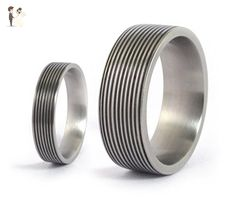 Set of two titanium and carbon fiber wedding bands. Unique and modern rings. Water resistant, very durable and hypoallergenic (00316_4N7N) - Wedding and engagement rings (*Amazon Partner-Link)