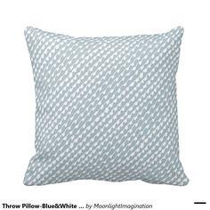 Throw Pillow-Blue&White Geometric Dot Design Pillow