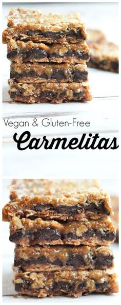 Vegan and gluten-free dessert idea! These Carmelitas are the BEST cookie bar you will ever sink your teeth into. Such a great dessert, would be great for a Thanksgiving or Christmas dessert or even Halloween food. Such a great treat recipe!