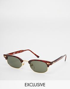 Sunglasses by Reclaimed Vintage Tortoiseshell frames with corner pin details Adjustable silicone nose pads for added comfort Dark tinted lenses Slim arms with curved temple tips for a secure fit Total UV protection Products vary due to reclaimed nature Exclusive to ASOS