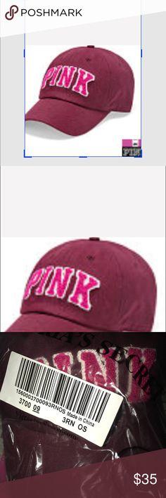 NIP VS PINK BASEBALL CAP HEAVY DUTY RUBY NIP VS PINK BASEBALL CAP HEAVY DUTY RUBY WITH RAISED LETTERING PINK CREAM PINK Victoria's Secret Accessories Hats