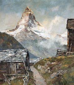 Josef Burger - Matterhorn - Zermatt - Auktionshaus Engel in Koblenz Art Watercolor, Watercolor Landscape, Landscape Paintings, Mountain Art, Mountain Landscape, Models Men, Fishing Photos, Fantasy Paintings, Mountain Paintings