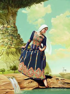 Greeting Card featuring the painting The Beauty Of Palestine by Imad Abu shtayyah Palestine Art, Palestine History, Palestine Quotes, Middle East Culture, Handsome Arab Men, Arabian Art, Arab Wedding, Palestinian Embroidery, Arab Fashion